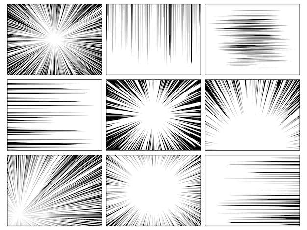 Líneas radiales de cómics. libro cómico velocidad línea horizontal cubierta velocidad textura acción rayo explosión héroe dibujo conjunto de dibujos animados