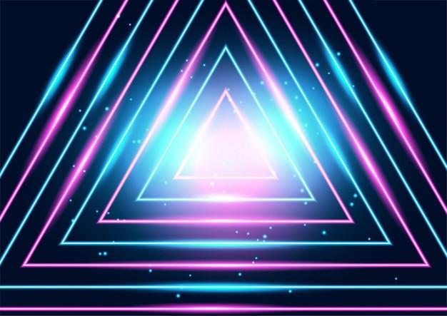 Líneas techno brillantes de neón, fondo abstracto futurista de alta tecnología