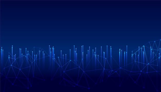 Líneas de tecnología digital brillante con malla metálica