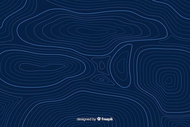 Líneas topográficas circulares sobre fondo azul.