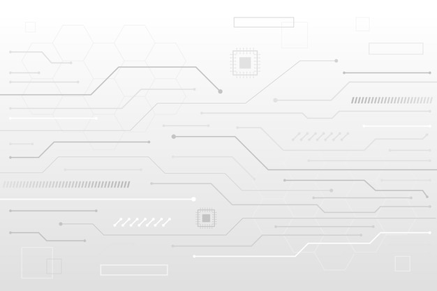 Líneas de transistor fondo blanco tecnología
