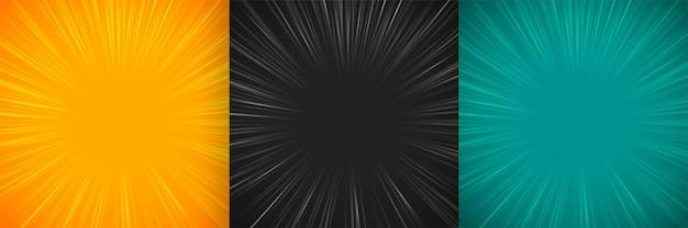 Líneas de zoom cómicas diseño de conjunto de fondo vacío