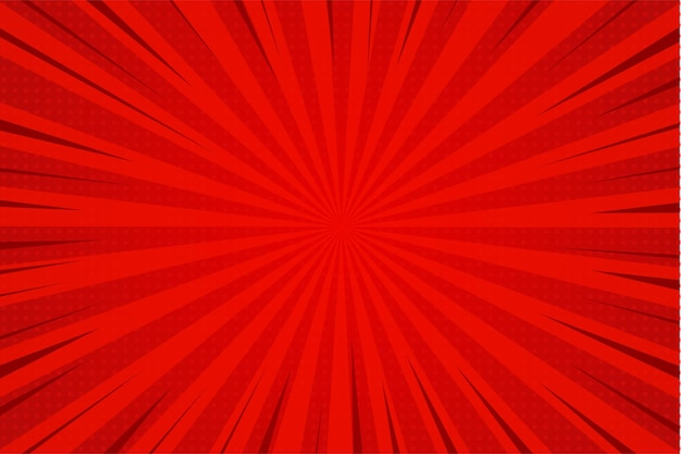 Líneas de zoom rojas de dibujos animados cómico de fondo abstracto con efecto sunburst.