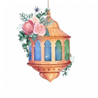 Linterna árabe acuarela con hermosa ilustración floral