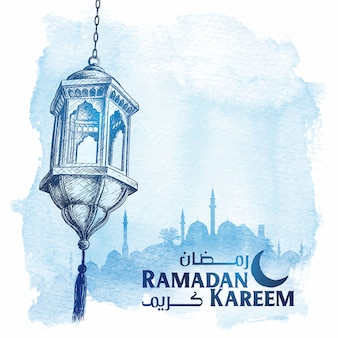 Linterna árabe boceto del saludo de ramadan kareem.