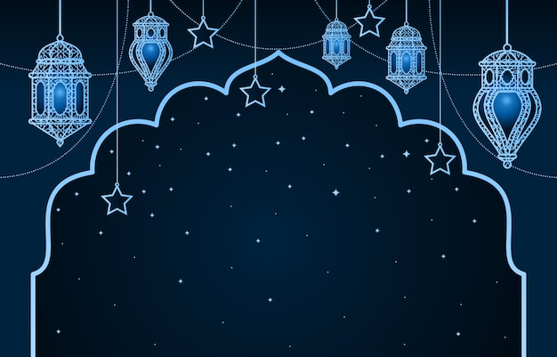 Linterna árabe islámica para el fondo de ramadán kareem eid mubarak