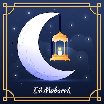 Linterna colgante de la luna dibujada a mano eid mubarak