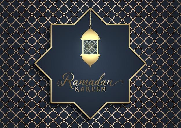 Linterna dorada fondo de ramadán