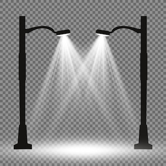 Linterna en el fondo. brillante farola moderna. ilustración vectorial hermosa luz de una farola.