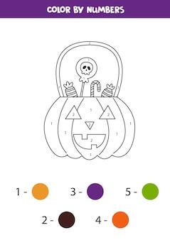 Linterna de halloween de color por números. hoja de trabajo para niños.