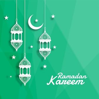 Linterna islámica decorativa con luna y fondo estrella.