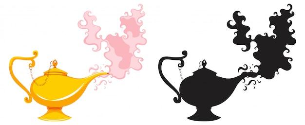 Linterna mágica o lámpara aladdin en color y silueta aislado sobre fondo blanco.