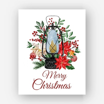 Linterna de navidad con flor de nochebuena ilustración acuarela