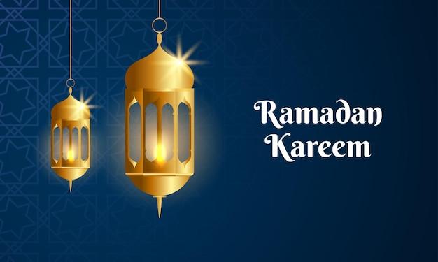 Linterna de oro de ramadan kareem