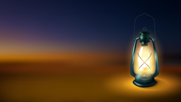 Linterna realista aislada en la noche de fondo borroso lámpara de queroseno iluminada