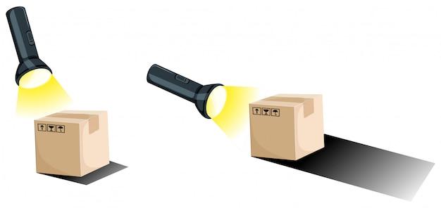 Linterna y sombra de las cajas.
