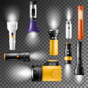 Linterna de vector de iluminación de luz de flash con foco o conjunto de ilustración de flash