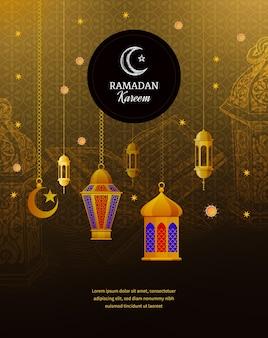Linternas árabes tradicionales, saludo islámico, media luna adornada dorada, cúpula de mezquita, caligrafía musulmana con firmas.