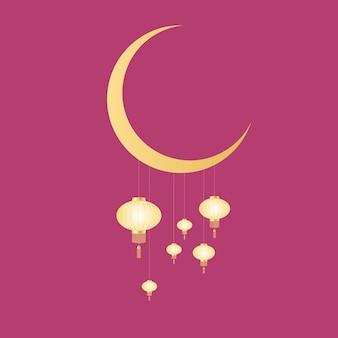 Linternas chinas colgando de la luna. festival de primavera.