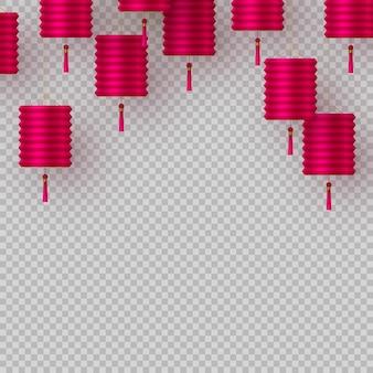 Linternas chinas en color rosa aisladas sobre fondo transparente. elementos decorativos para fiestas de oriente. ilustración vectorial.