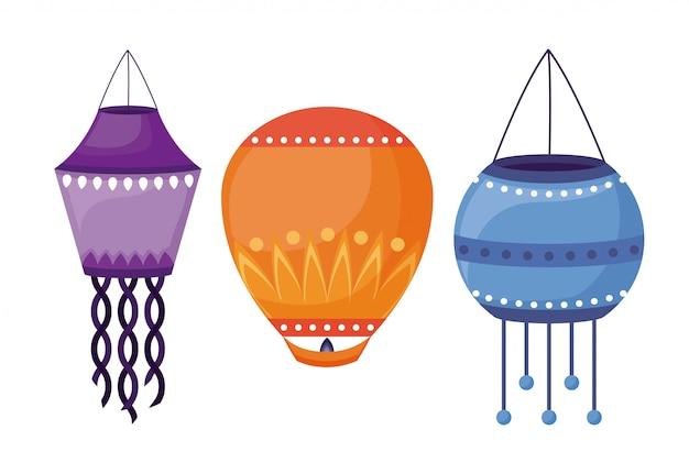 Linternas colgando iconos del festival de diwali