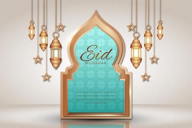 Linternas colgantes y estrellas realistas eid mubarak