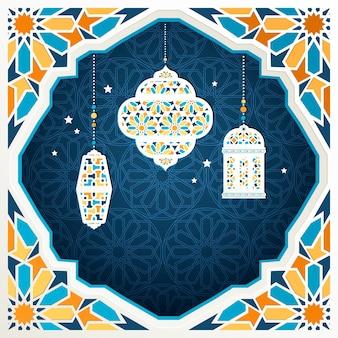 Linternas colgantes y marco en estilo mosaico