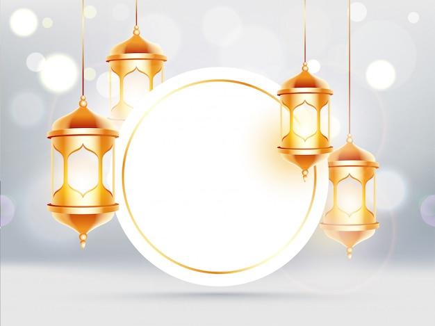 Linternas colgantes de oro decoradas fondo bokeh con marco circular
