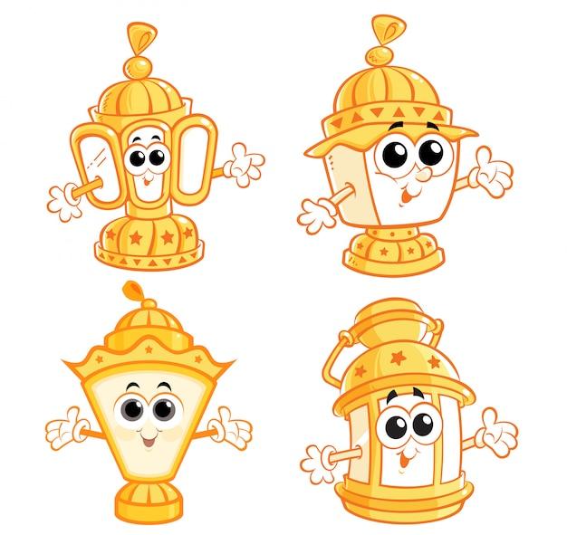 Linternas de dibujos animados de ramadán