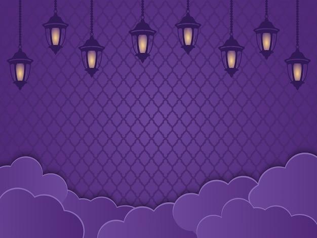 Linternas islámicas, nubes y adornos en un fondo púrpura. concepto creativo de diseño de la tarjeta de felicitación ramadhan o fitri adha, mawlid, isra miraj, área de texto del espacio de la copia, ilustración.