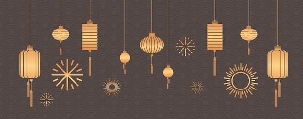 Linternas de oro calendario chino para el año nuevo del buey tarjeta de felicitación volante invitación cartel horizontal ilustración vectorial