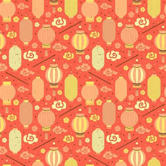 Linternas de papel chino de patrones sin fisuras.
