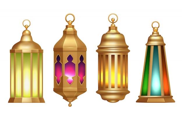 Linternas de ramadán ilustraciones realistas de lámparas vintage