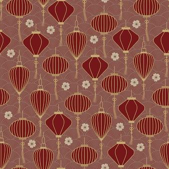 Linternas tradicionales chinas de patrones sin fisuras