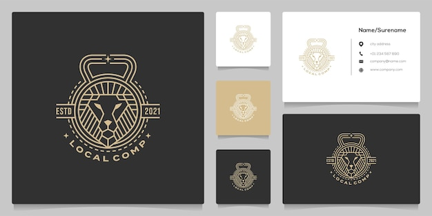 Lion fitness line diseño de logotipo retro vintage con tarjeta de visita
