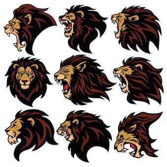 Lion head logo set paquete de diseño de mascota deportiva