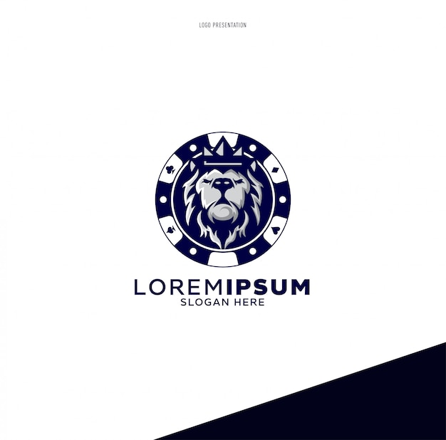 Lion poker logo sport