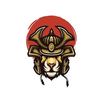 Lion samurai logo moderno