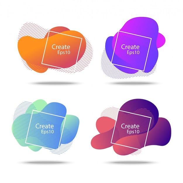 Líquido colorido y fondo de insignias de onda
