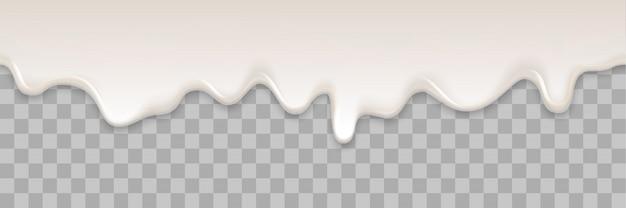 El líquido cremoso del yogur o la crema del yogur derriten el fondo que fluye del chapoteo. salpicaduras de leche blanca o textura suave de flujo de helado sobre fondo transparente para postre dulce