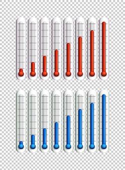 Líquidos azules y rojos en termómetros