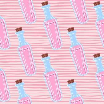 Líquidos de color rosa en patrón transparente botella azul. fondo rosa rayado.