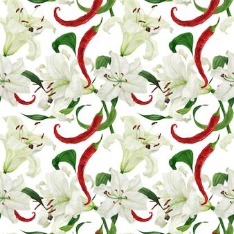 Lirios blancos tropicales y chiles rojos acuarela de patrones sin fisuras