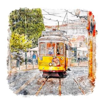Lisboa portugal acuarela dibujo dibujado a mano ilustración
