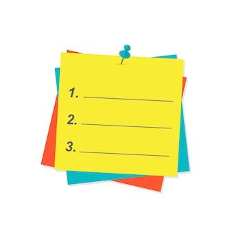 Lista de agenda de papel ilustración vectorial.