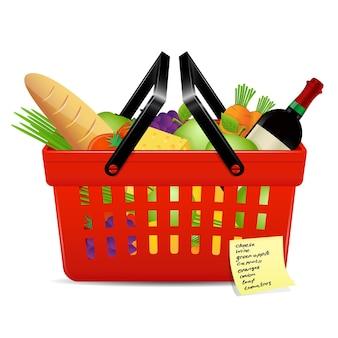 Lista de compras y canasta con alimentos.