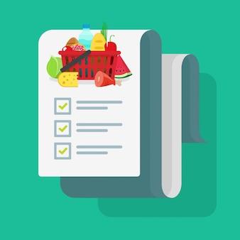 Lista de compras de comestibles o receta de cocina lista de verificación de ilustración de dibujos animados