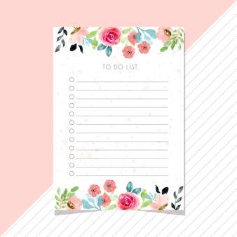 Lista de cosas para hacer con borde de acuarela de flores.