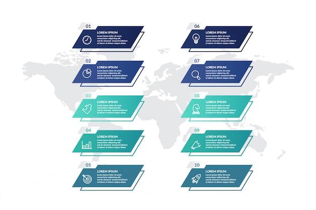 Lista de diseño de plantilla de infografía para presentación