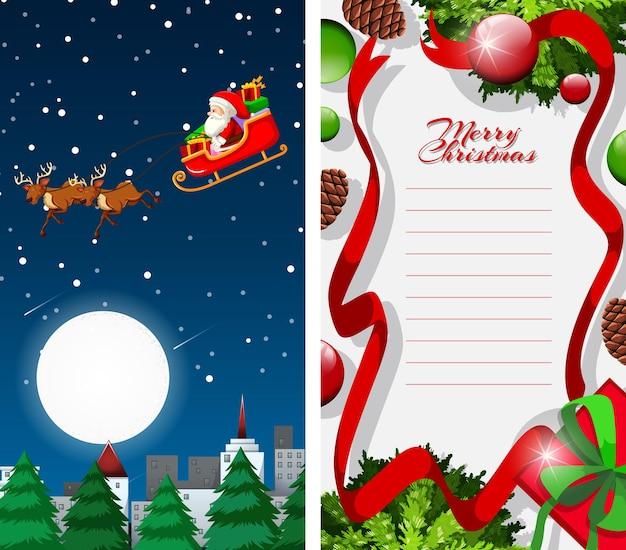 Lista de feliz navidad con trineo, santa y renos por la noche